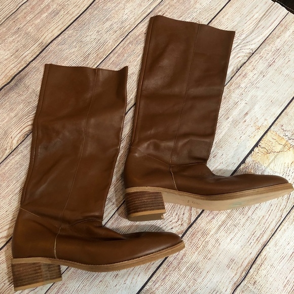 1912941f97d Dune Zita Round Toe Long Leather Boots Tan 39 NWT